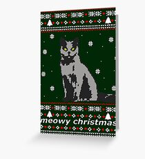 cat ugly christmas sweater Greeting Card