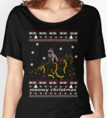 ugly sweater - christmas tree knocked down by a cat Women's Relaxed Fit T-Shirt