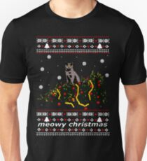 ugly sweater - christmas tree knocked down by a cat Slim Fit T-Shirt