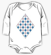 Pink And Blue Argyle One Piece - Long Sleeve