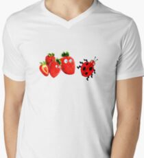 funny strawberries & cute lady bug graphic art Men's V-Neck T-Shirt