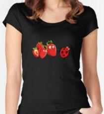 funny strawberries & cute lady bug graphic art Women's Fitted Scoop T-Shirt