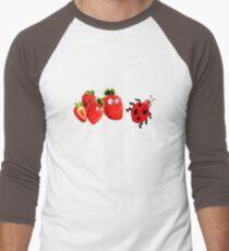 funny strawberries & cute lady bug graphic art Men's Baseball ¾ T-Shirt