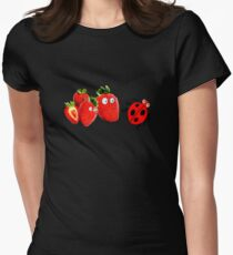 funny strawberries & cute lady bug graphic art Women's Fitted T-Shirt