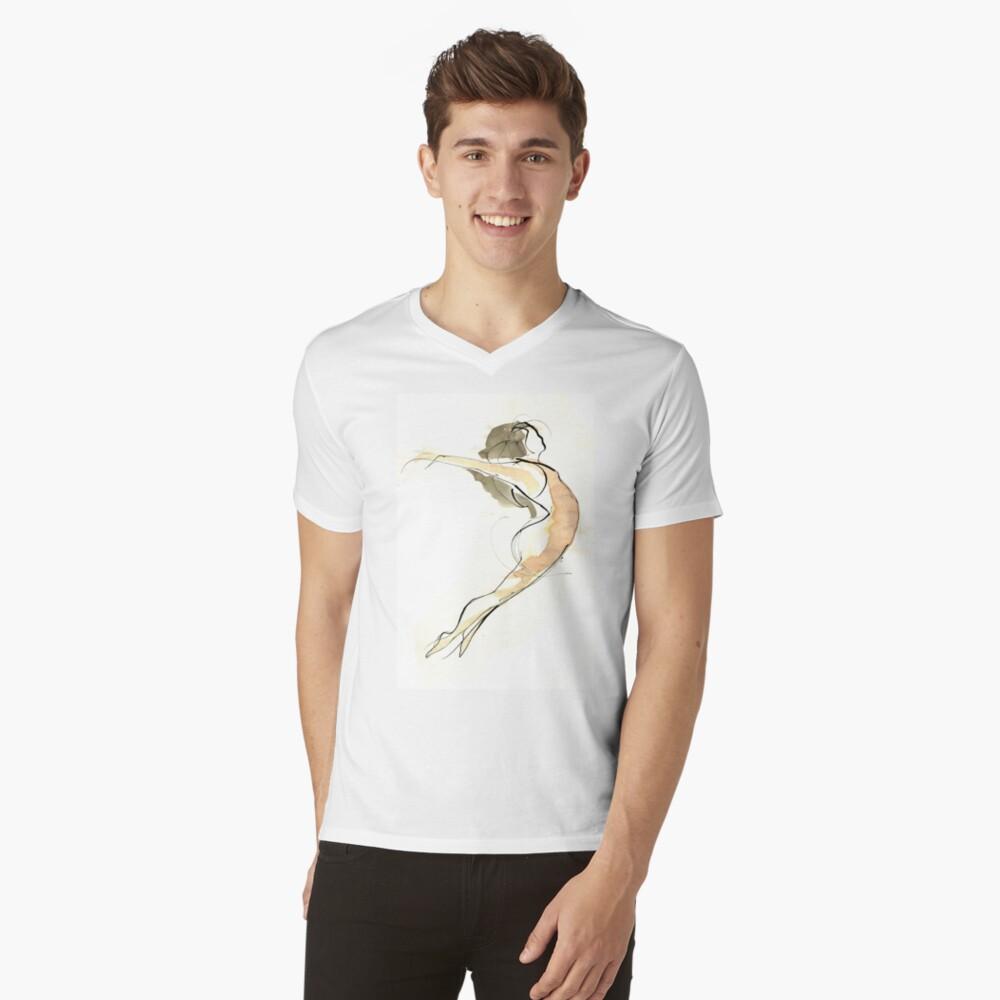 Original Dance Jump Drawing  V-Neck T-Shirt