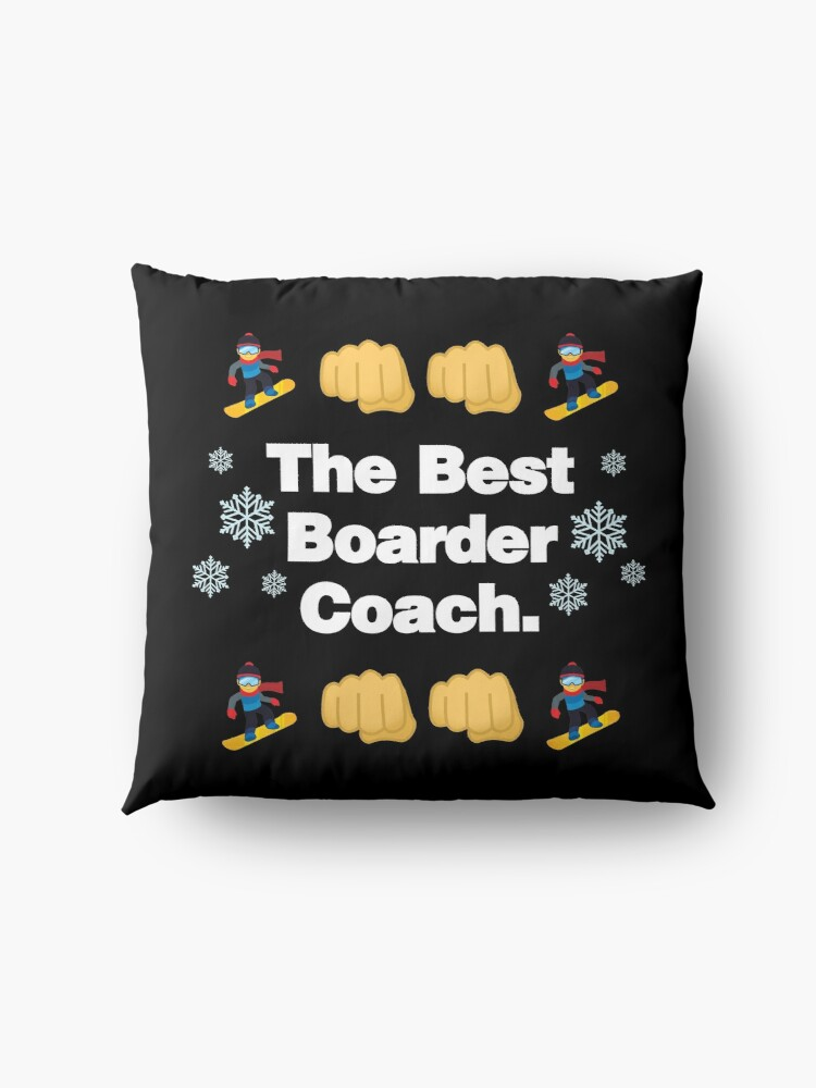Alternate view of The Best Boarder Coach Emoji Snowboarder Saying Floor Pillow