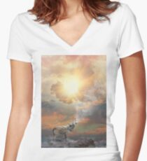 Climb Mountains Not So the World Can See Women's Fitted V-Neck T-Shirt