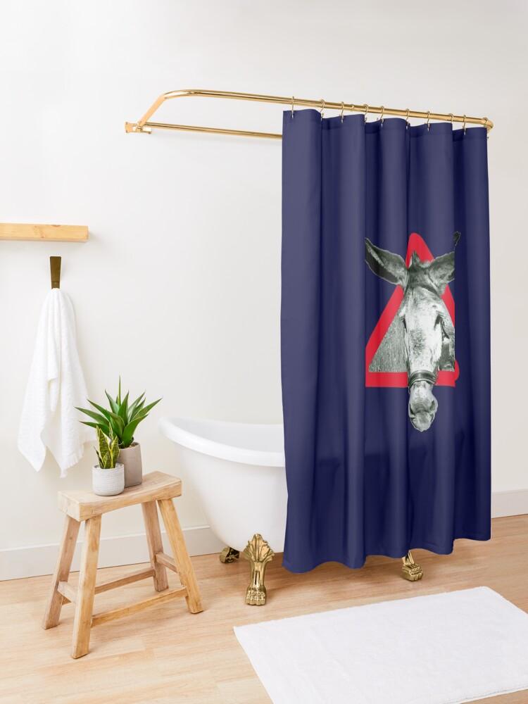 Vista alternativa de Cortina de ducha Peligro: Súper Terco - señal de advertencia