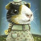Eleanor the guinea pig picking daisies by tanyabond