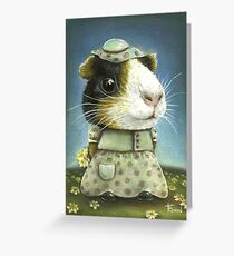 Eleanor the guinea pig picking daisies Greeting Card