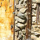 Old Wood Door Window and Stone by Bo Insogna