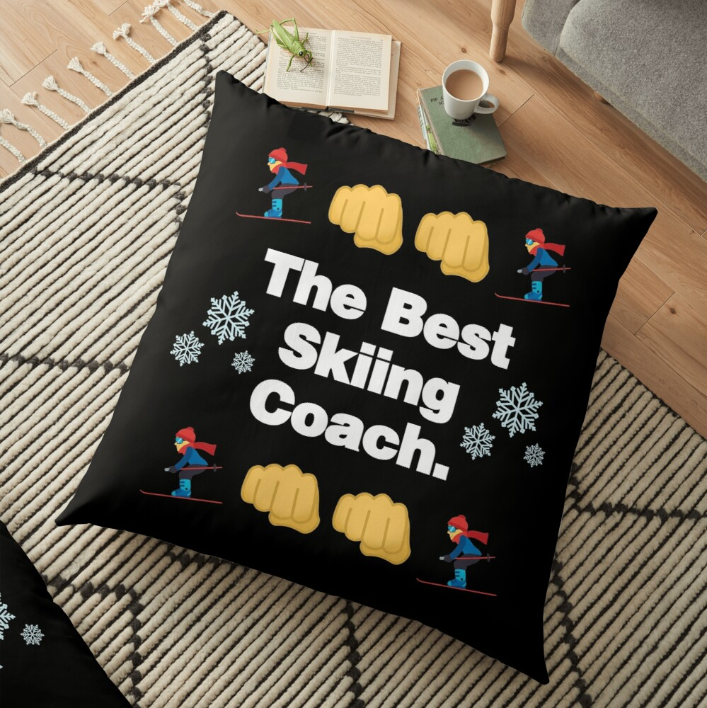 The Best Skiing Coach Emoji Funny Skier Saying Floor Pillow