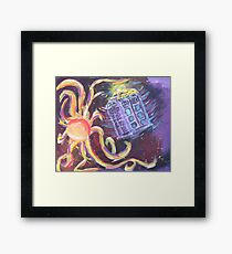 The Tardis Escapes From A Mutant Orange Framed Print