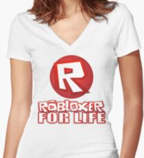 Robloxer For Life Women's Fitted V-Neck T-Shirt
