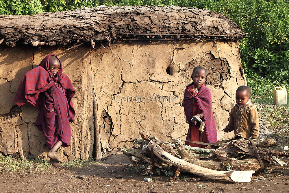 Maasai Village Scene with Children & House, East Africa  by Carole-Anne