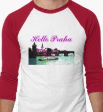 Beautiful Praha castle and karls bridge art Men's Baseball ¾ T-Shirt