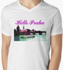 Beautiful Praha castle and karls bridge art Men's V-Neck T-Shirt