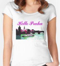 Beautiful Praha castle and karls bridge art Women's Fitted Scoop T-Shirt