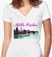 Beautiful Praha castle and karls bridge art Women's Fitted V-Neck T-Shirt