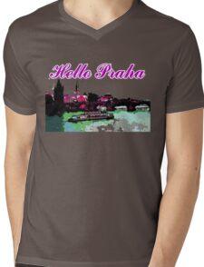 Beautiful Praha castle and karls bridge art Mens V-Neck T-Shirt