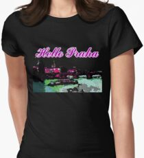 Beautiful Praha castle and karls bridge art Womens Fitted T-Shirt