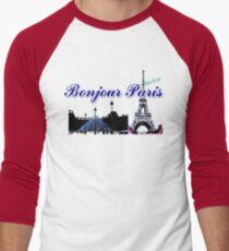 Beautiful architecture Luvoure museum ,Effel tower Paris france graphic art Men's Baseball ¾ T-Shirt