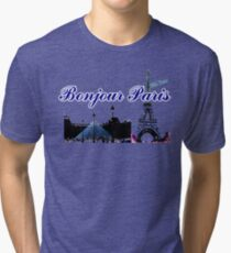 Beautiful architecture Luvoure museum,Effel tower  Paris france graphic art Tri-blend T-Shirt