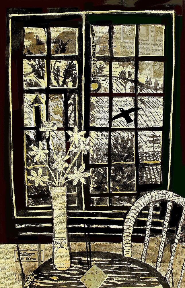 window with lone bird by Loui  Jover