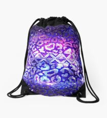TRIBAL LEOPARD GALAXY Colorful Bold Animal Print Pattern Deep Violet Eggplant Purple Blue Galaxy Abstract Drawstring Bag