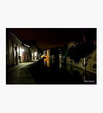 Night Canal Bruges Belgium Photographic Print