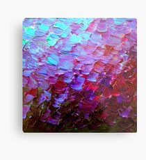 MERMAID SCALES Colorful Ombre Abstract Acrylic Impasto Painting Violet Purple Plum Ocean Waves Art Metal Print