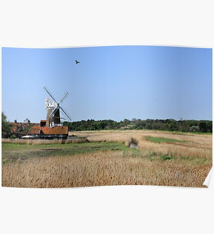 Cley Windmill with royal wedding bunting Poster