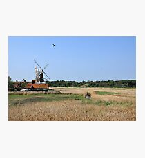 Cley Windmill with royal wedding bunting Photographic Print