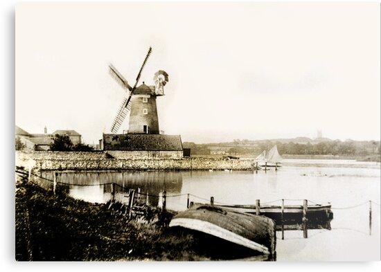 Cley Windmill marsh tide 1900 by cleywindmill