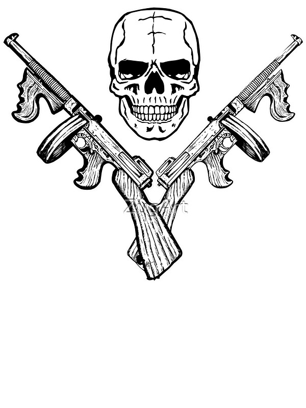 Quot Skull And Tommy Guns Quot Stickers By Zugart Redbubble