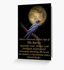 Native american birthday greeting cards redbubble the native american zodiac sign of the raven libra greeting card bookmarktalkfo Choice Image
