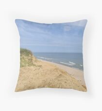 Ocean bluff and sandy beach Throw Pillow