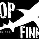 Ocean4 Stop Finning Logo White by AdanichDesign