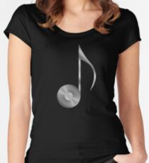 Vinyl Record Musical Eighth Note - Metallic - Steel Women's Fitted Scoop T-Shirt