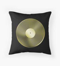Vinyl LP Record - Metallic - Gold Throw Pillow