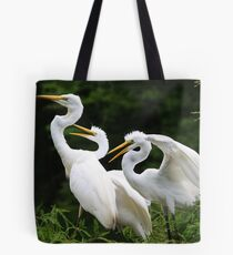 Mama Egret with her Babies Tote Bag