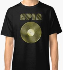 Spin - Vinyl LP Record & Text - Metallic - Gold Classic T-Shirt