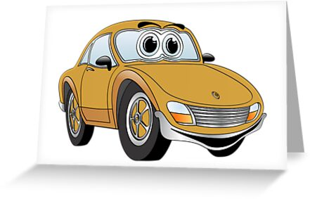 Brown Sports Car Cartoon by Graphxpro