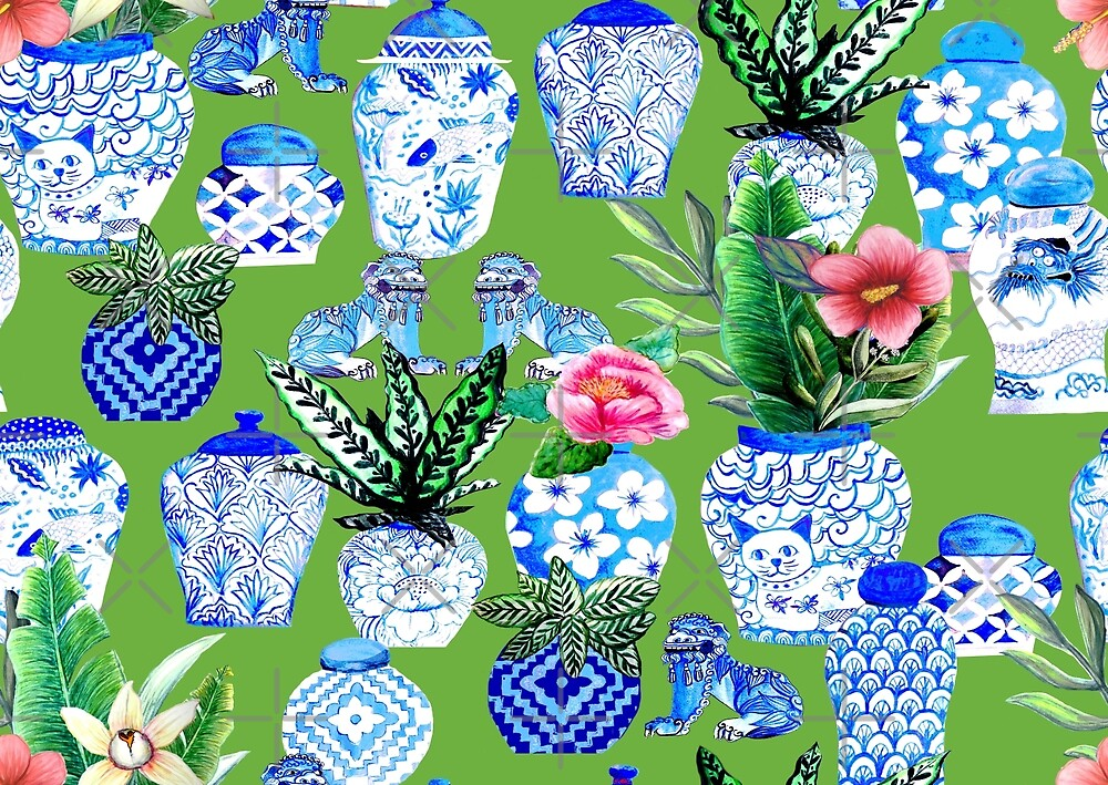 blue and white Chinese ginger jars on green, Emerald green Chinoiserie by MagentaRose
