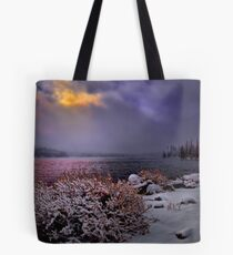 Winters Snow at Big Lake Tote Bag