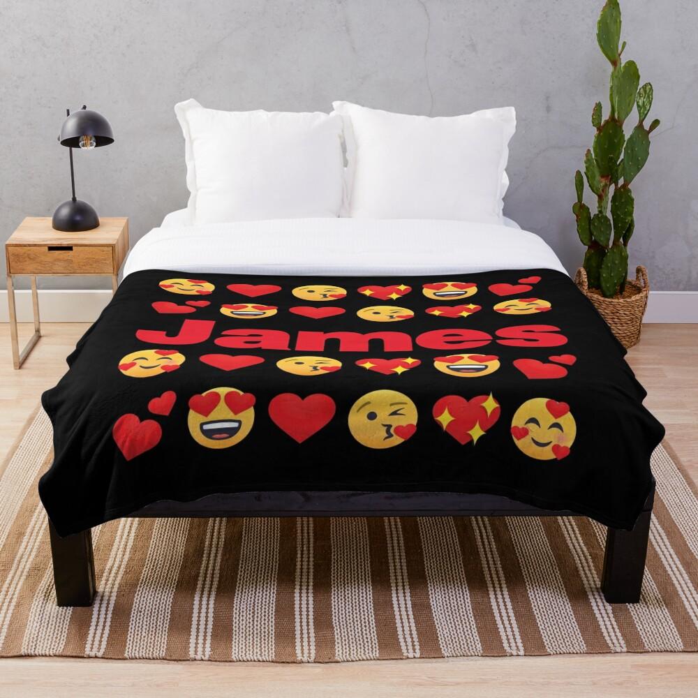 James Emoji My Love for Valentines day Throw Blanket