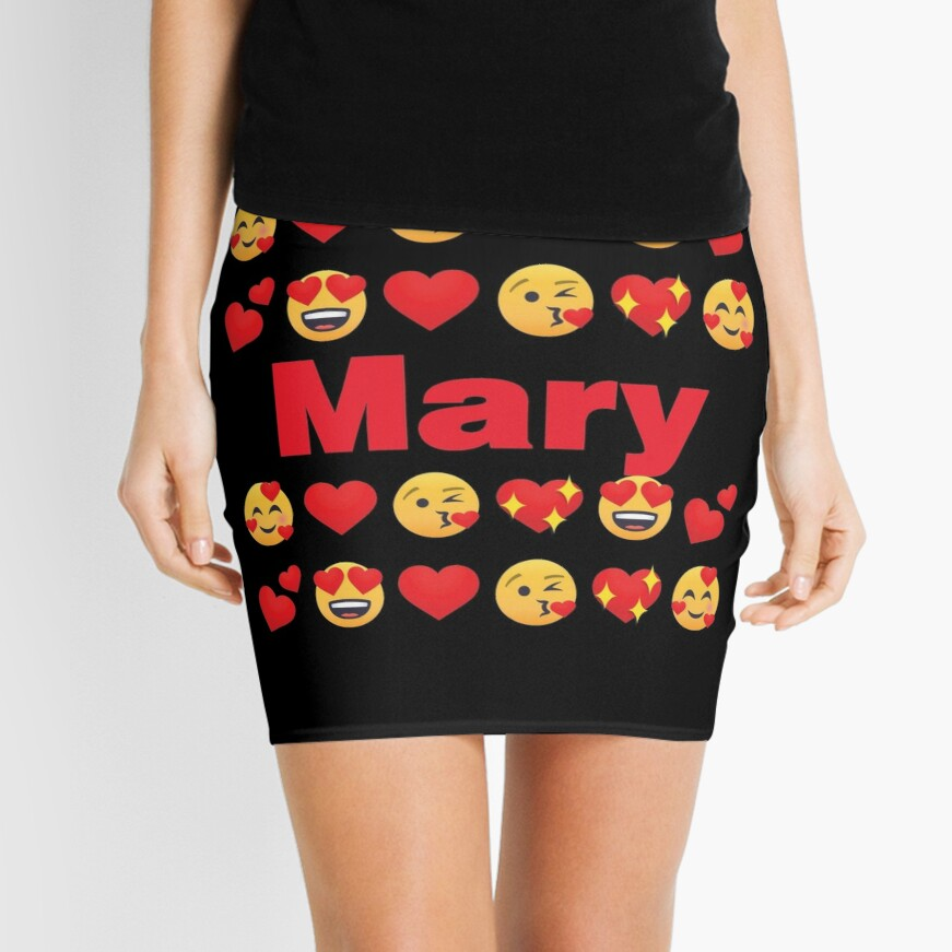 Mary Emoji My Love for Valentines day Mini Skirt
