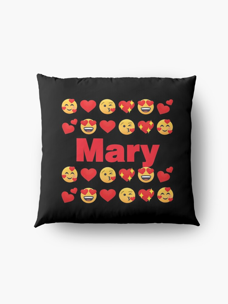 Alternate view of Mary Emoji My Love for Valentines day Floor Pillow