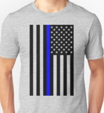 The Symbolic Thin Blue Line on US Flag T-Shirt