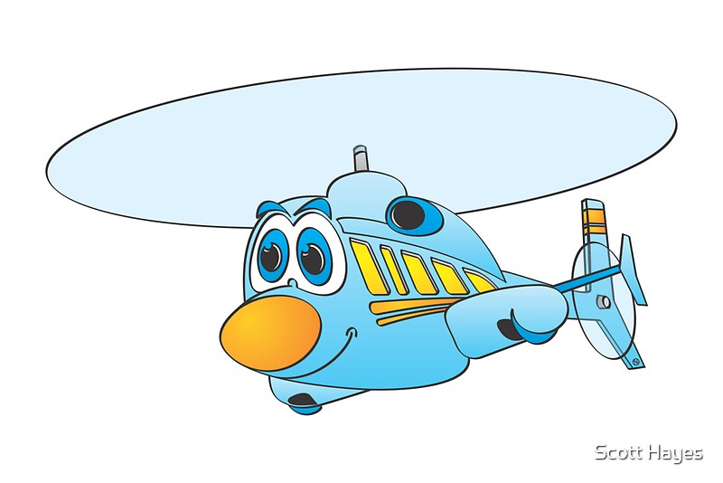 Quot Blue Helicopter Cartoon Quot Canvas Prints By Graphxpro